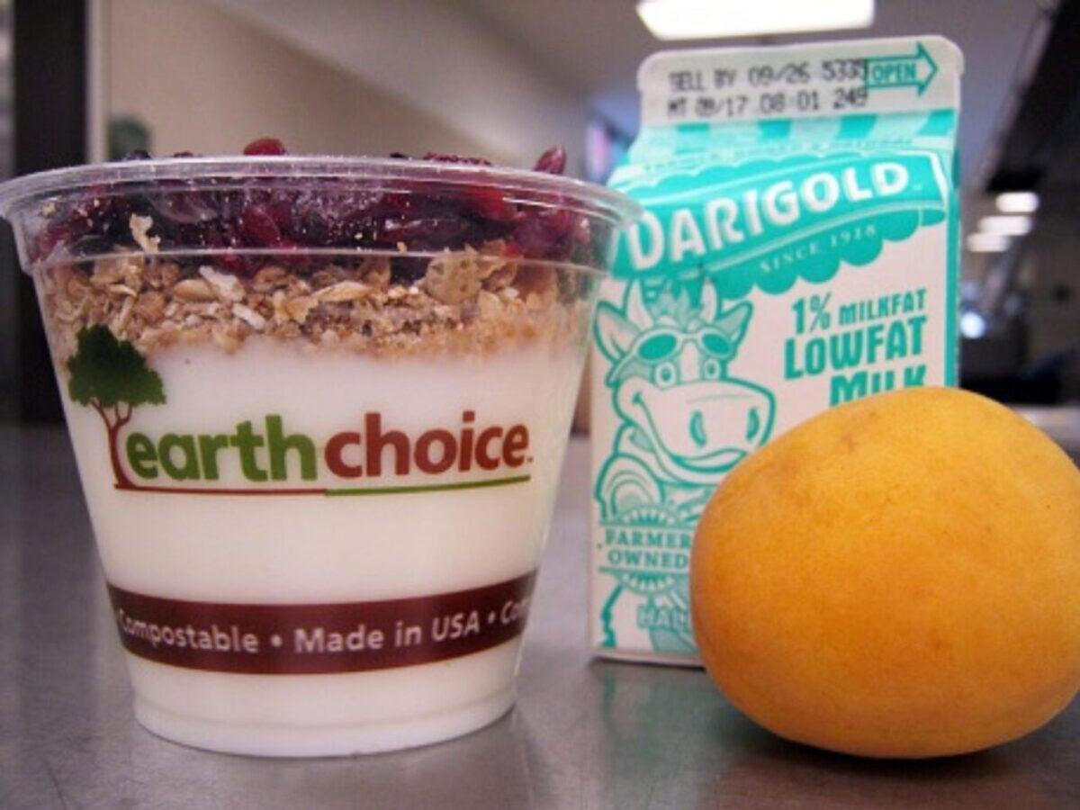 Yogurt, milk and an orange
